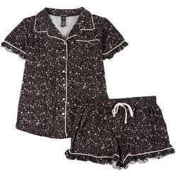 Juniors Floral Button Up Pajama Shorts Set