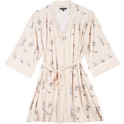 Womens 2-pc. Floral Print Robe & Chemise Set