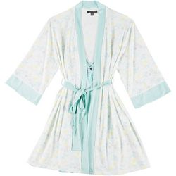 Womens 2-pc. Floral Solid Robe & Chemise Set