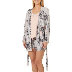 Be Yourself Womens Heathered Floral 3 Peice Pajama Set