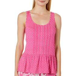 Tackle & Tides Womens Polka Dot Peplum Pajama Tank Top