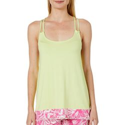 Tackle & Tides Womens Tropical Floral Border Pajama Tank Top