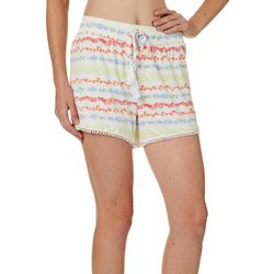 Tackle & Tides Womens Seaweed Stripe Pom Pom Pajama Shorts