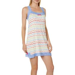 Tackle & Tides Womens Seaweed Stripe Lace Trim Nightgown