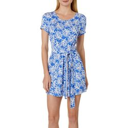 Tackle & Tides Womens Coral Print Tie Front Nightgown