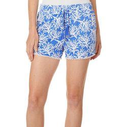 Tackle & Tides Womens Coral Print Pom Pom Pajama Shorts