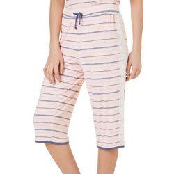Tackle & Tides Womens Striped Faux Drawstring Pajama Capris