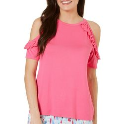 Tackle & Tides Womens Solid Ruffle Pajama T-Shirt