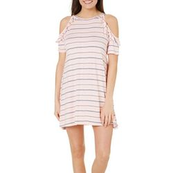 Tackle & Tides Womens Striped Ruffle Leisure Dress