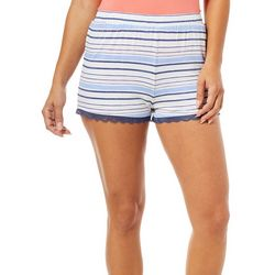 Tackle & Tides Womens Striped Lace Pajama Shorts