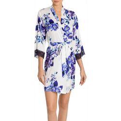 Linea Donatella Womens Floral Lace Trim Satin Wrap Robe