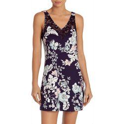 Linea Donatella Womens Daniella Floral Lace Trim Nightgown