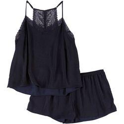 Linea Donatella Womens Lace Trim Solid Pajama Shorts Set