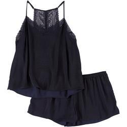 Womens Lace Trim Solid Pajama Shorts Set