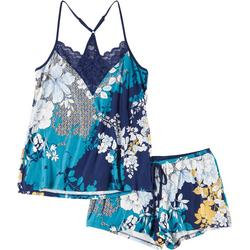 Womens Bold Floral Pajama Shorts Set
