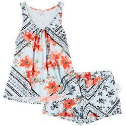 Womens Handerchief Floral Pajama Set