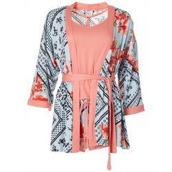 Womens 3-Pc. Handerchief Floral Pajama Set
