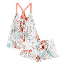Womens Tropical Floral Sleeveless Pajama Set