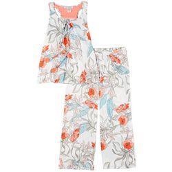 Linea Donatella Womens Tropical Floral Pajama Capri Set