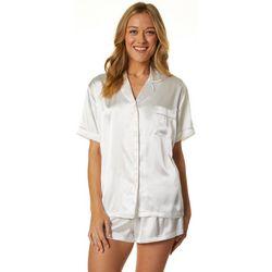 Linea Donatella Womens Satin Bride Pajama Shorts Set