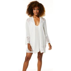 Linea Donatella Womens Lace Accent Bridal Wrap Robe