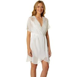 Linea Donatella Womens Lace Accent Sheer Bridal Wrap Robe