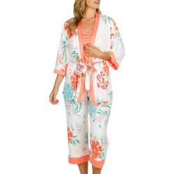 Linea Donatella Womens 3-pc. Floral Pajama Capri Set