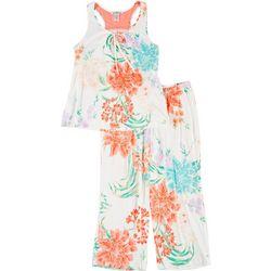 Womens Coral Floral Pajama Set
