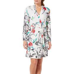 Linea Donatella Womens Tropical Floral Print Wrap Robe