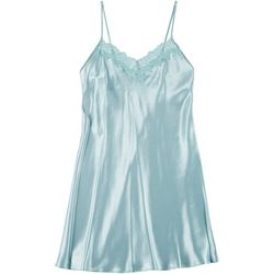 Linea Donatella Womens Lace Neck Chemise Nightgown