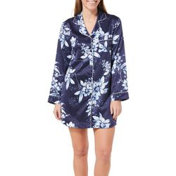Linea Donatella Womens Floral Button Down Shirt Nightgown