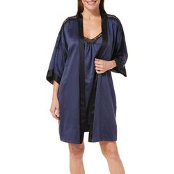 Linea Donatella Womens Satin Lace Nightgown & Bathrobe Set