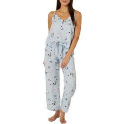Womens Scalloped Edge Floral Pajama Pants Set