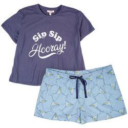 Como Blu Womens 2-Pc. Sip Sip Hooray PJ