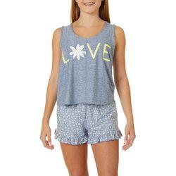 Derek Heart Juniors Love Daisy Pajama Shorts Set