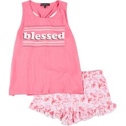 Juniors Blessed Tie Dye Pajama Shorts Set