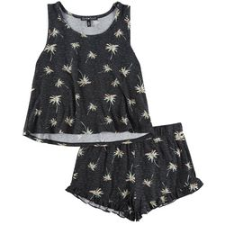 Derek Heart Juniors 2-Pc. Heathered Palm Pajama Shorts