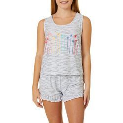Juniors 2-Pc. Striped Palms Pajama Shorts Set