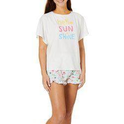 Jaclyn Intimates Womens Hello Sunshine Pajama Shorts Set