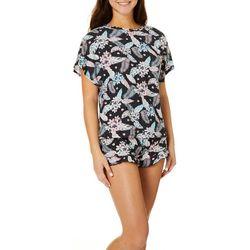 Jaclyn Intimates Womens Floral Print Pajama Shorts Set