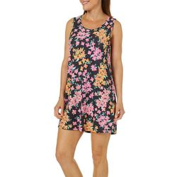 Jaclyn Intimates Womens Heathered Floral Tank Lounge Dress