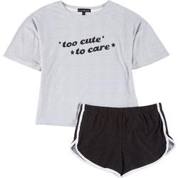 Juniors 2-Pc. Too Cute To Care Pajama Shorts Set