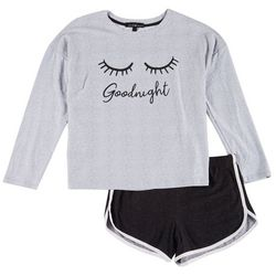 Derek Heart Juniors Good Night Long Sleeve Pajama Shorts Set