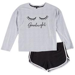 Juniors Good Night Long Sleeve Pajama Shorts Set