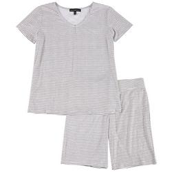 Juniors Pin Stripe Pajama Bike Shorts Set