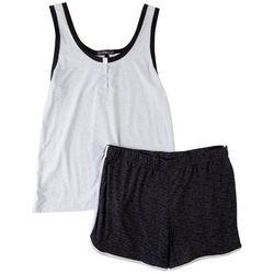 Derek Heart Juniors Contrast Trim Henley Pajama Shorts Set