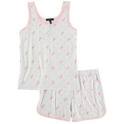 Derek Heart Juniors Flamingo Pindot Henley Pajama Shorts Set