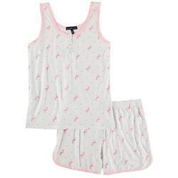 Juniors Flamingo Pindot Henley Pajama Shorts Set