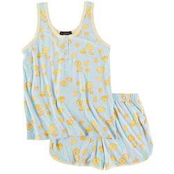 Juniors Lemon Print Henley Pajama Shorts Set