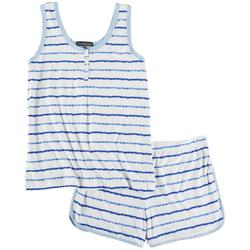 Juniors Striped Henley Pajama Shorts Set